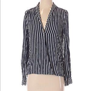 Zara TFC NWT Navy White Striped Blouse